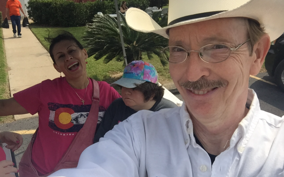 Congregational fun at the Church's last Community Service Event with pastor Charlie and Mary David and Debbie
